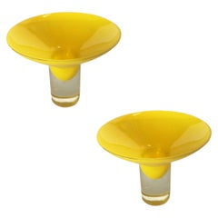 Yellow Murano Glass Dish Candlestick Holder, Midcentury