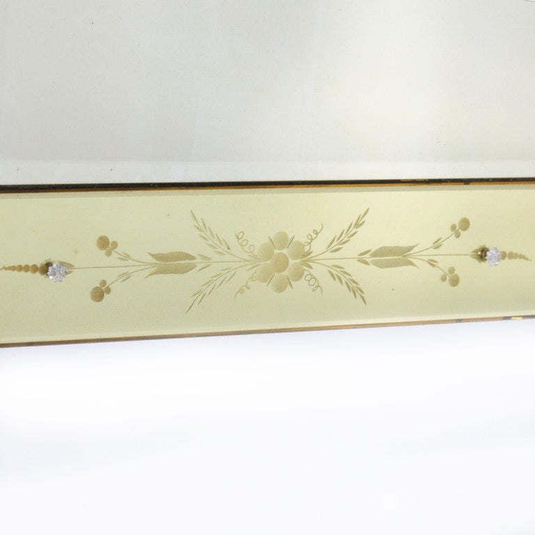 French Yellow Murano Glass Mirror Frame Mirror, circa 1950 For Sale