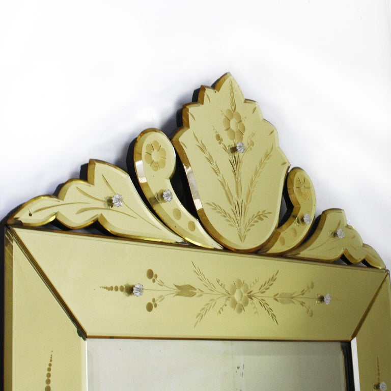 Etched Yellow Murano Glass Mirror Frame Mirror, circa 1950 For Sale