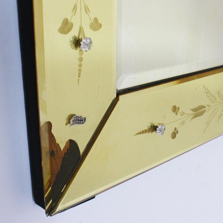 Yellow Murano Glass Mirror Frame Mirror, circa 1950 In Fair Condition For Sale In Dallas, TX
