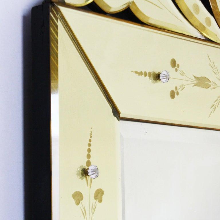 Mid-20th Century Yellow Murano Glass Mirror Frame Mirror, circa 1950 For Sale