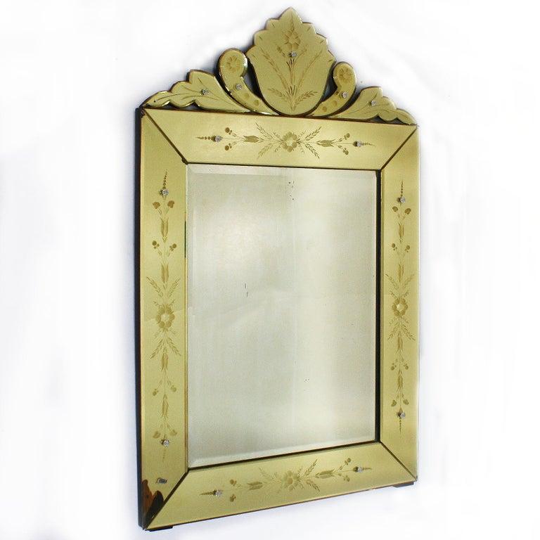 Yellow Murano Glass Mirror Frame Mirror, circa 1950 For Sale 1