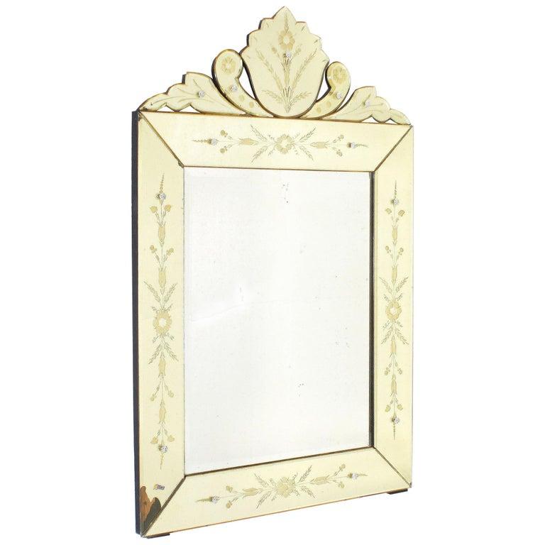 Yellow Murano Glass Mirror Frame Mirror, circa 1950 For Sale