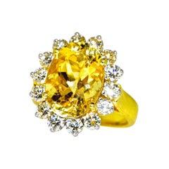 Yellow Natural Sapphire and White Diamond Ring