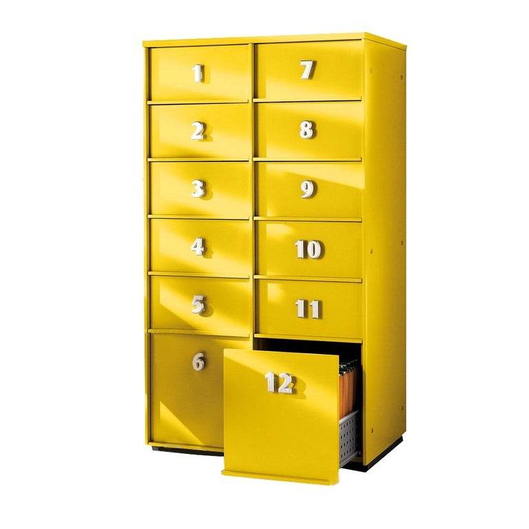 Modern Yellow Numbered Toolbox, Designed by Pietro Arosio, Made in Italy For Sale