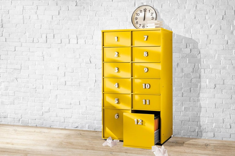 Italian Yellow Numbered Toolbox, Designed by Pietro Arosio, Made in Italy For Sale
