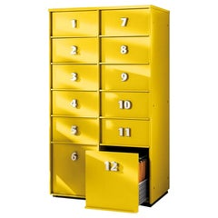 Yellow Numbered Toolbox, Designed by Pietro Arosio, Made in Italy