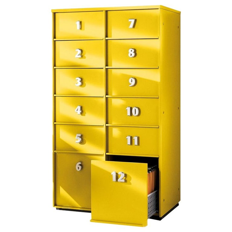 Yellow Numbered Toolbox, Designed by Pietro Arosio, Made in Italy For Sale