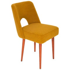 Yellow Ochre Boucle 'Shell' Chair, 1960s