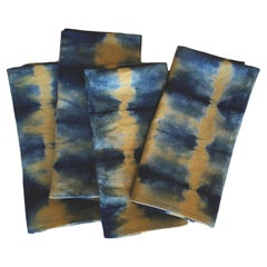 Yellow Ochre Gold and Blue Indigo Pleat Linen Napkins set of 4