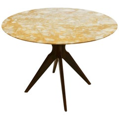 Yellow Onyx and Rosewood Italian Pedestal Table, 1950s