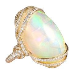 Goshwara Yellow Opal Cabochon with Diamonds Ring