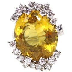 Yellow Oval Citrine Diamond White Gold Cocktail Ring