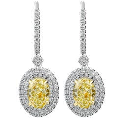 Yellow Oval Diamond Earrings with Double Halo