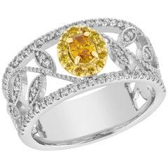 Yellow Oval Modern Lattice Diamond Ring