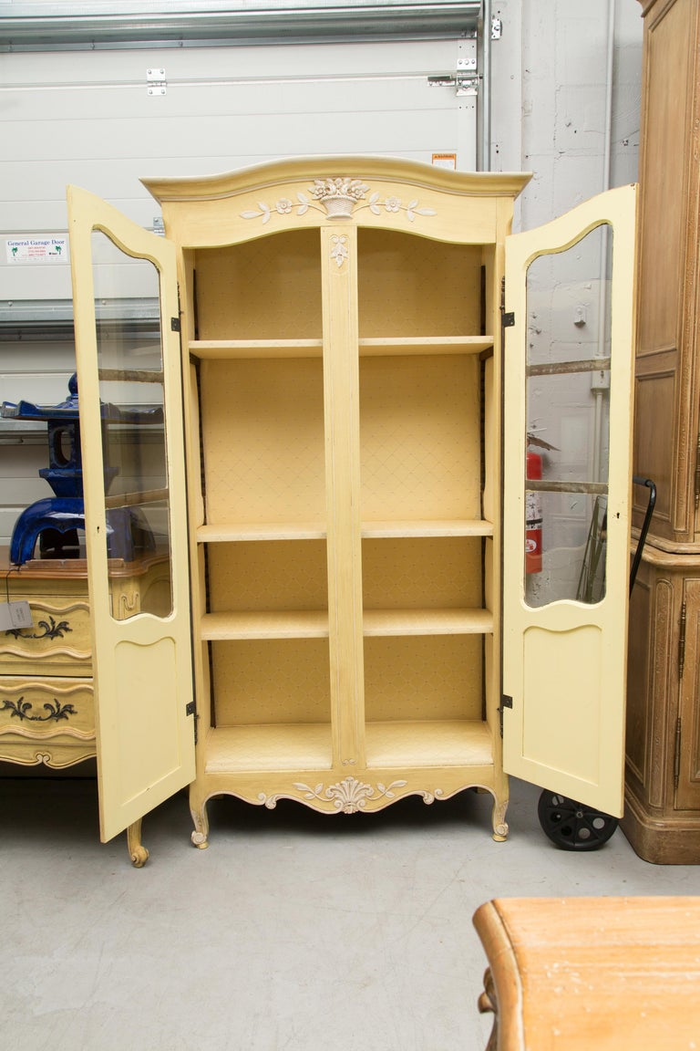 Yellow Painted French Louis XV Armoire For Sale 4