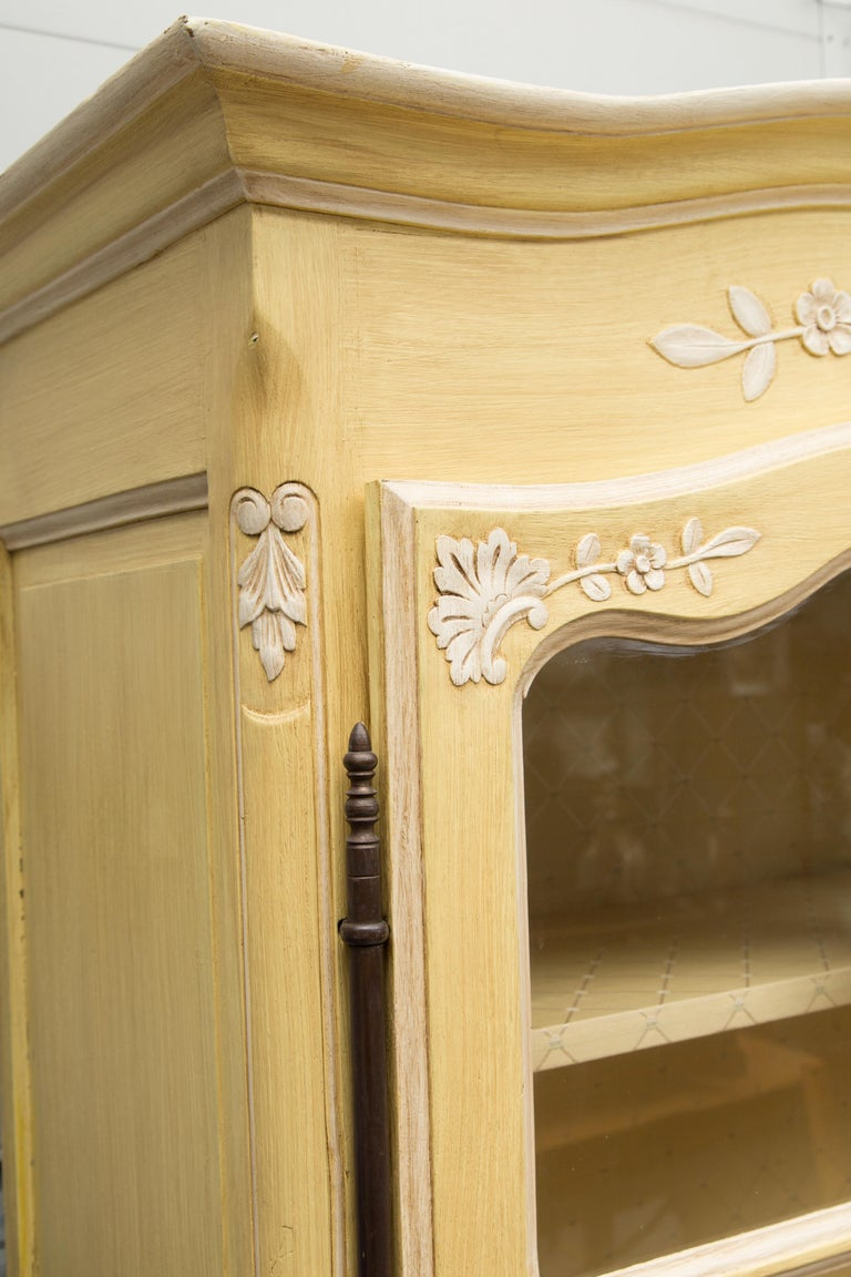 Yellow Painted French Louis XV Armoire For Sale 5