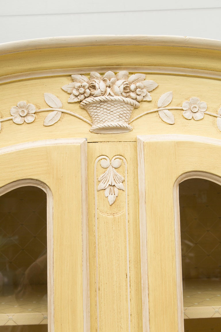 Yellow Painted French Louis XV Armoire For Sale 6