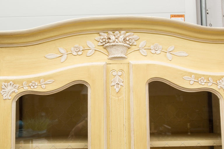 Yellow Painted French Louis XV Armoire For Sale 7