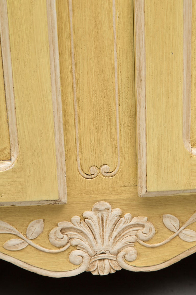 Hand-Painted Yellow Painted French Louis XV Armoire For Sale