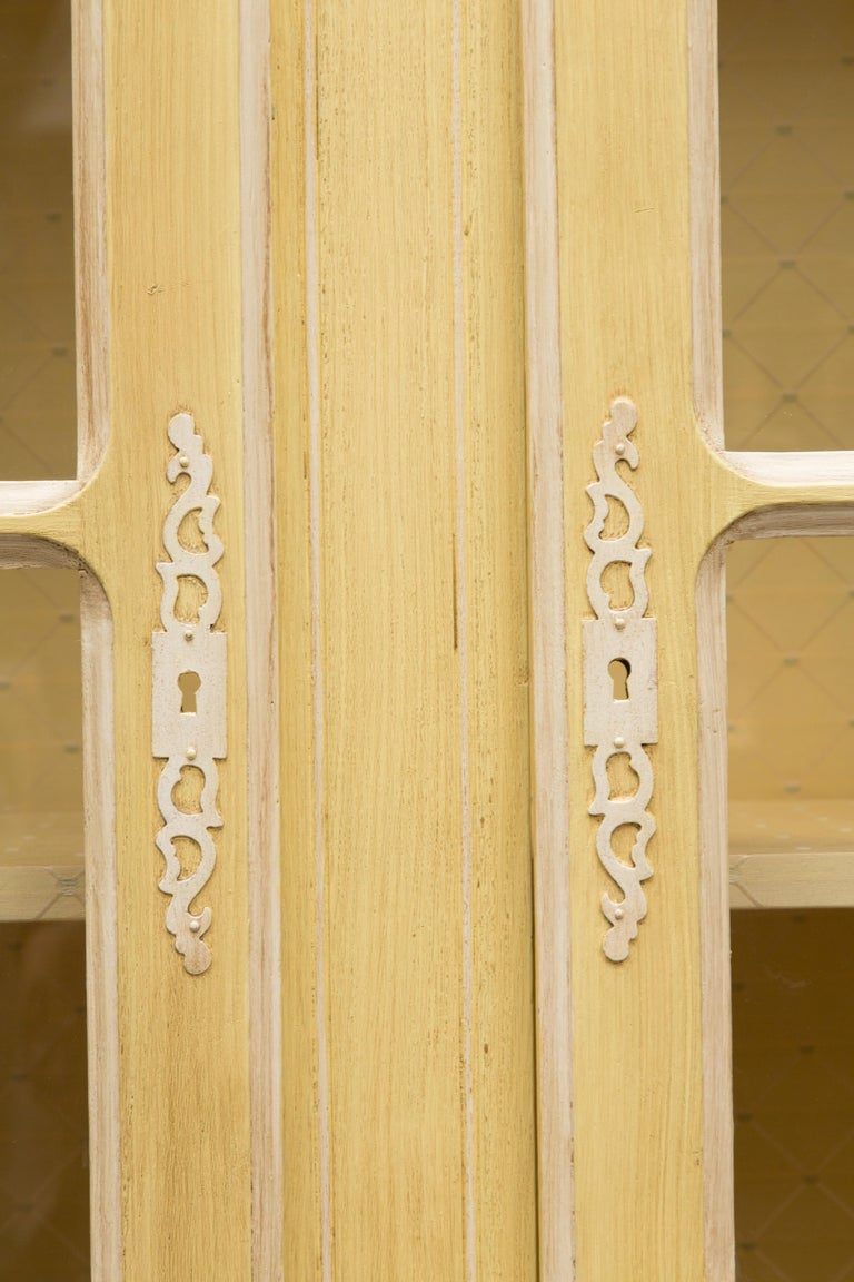 Yellow Painted French Louis XV Armoire In Good Condition For Sale In WEST PALM BEACH, FL
