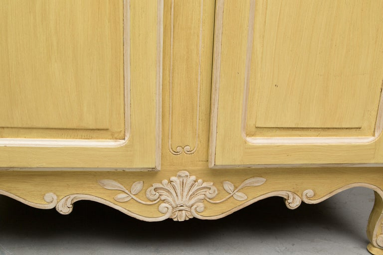 20th Century Yellow Painted French Louis XV Armoire For Sale
