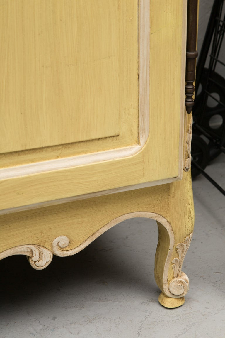 Wood Yellow Painted French Louis XV Armoire For Sale