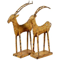 Yellow Painted Iron Deer with Antlers Figures, 20th Century