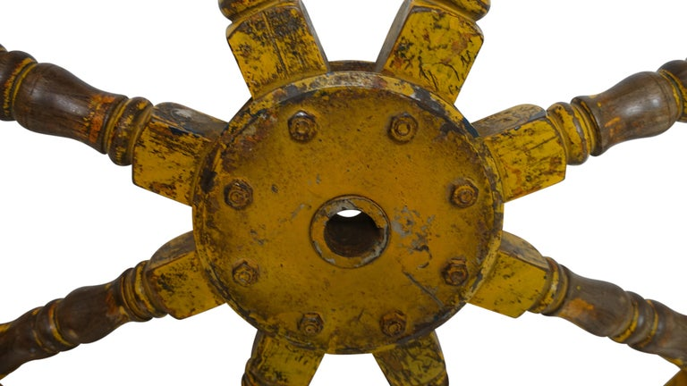 Walnut Yellow Painted Ships Wheel, 19th Century For Sale
