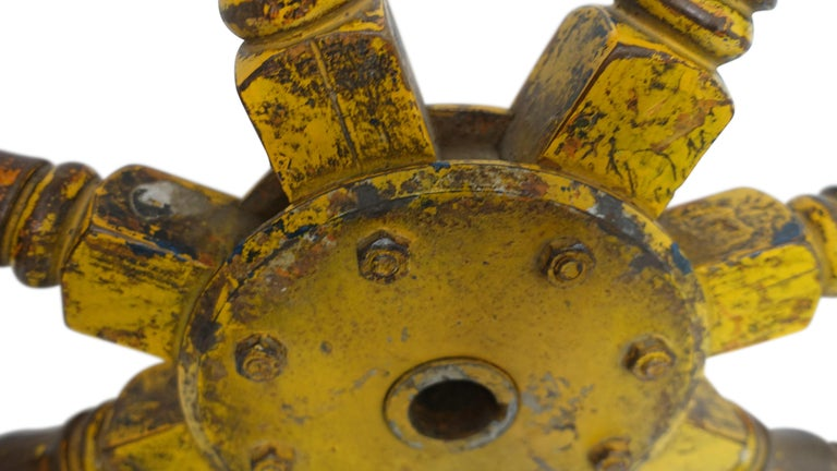 Yellow Painted Ships Wheel, 19th Century For Sale 2
