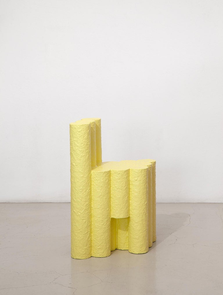 Modern Yellow Paper Pulp Sculptural #21.1c Tubes Chair by Zaven For Sale