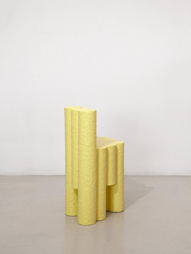 Italian Yellow Paper Pulp Sculptural #21.1c Tubes Chair by Zaven For Sale