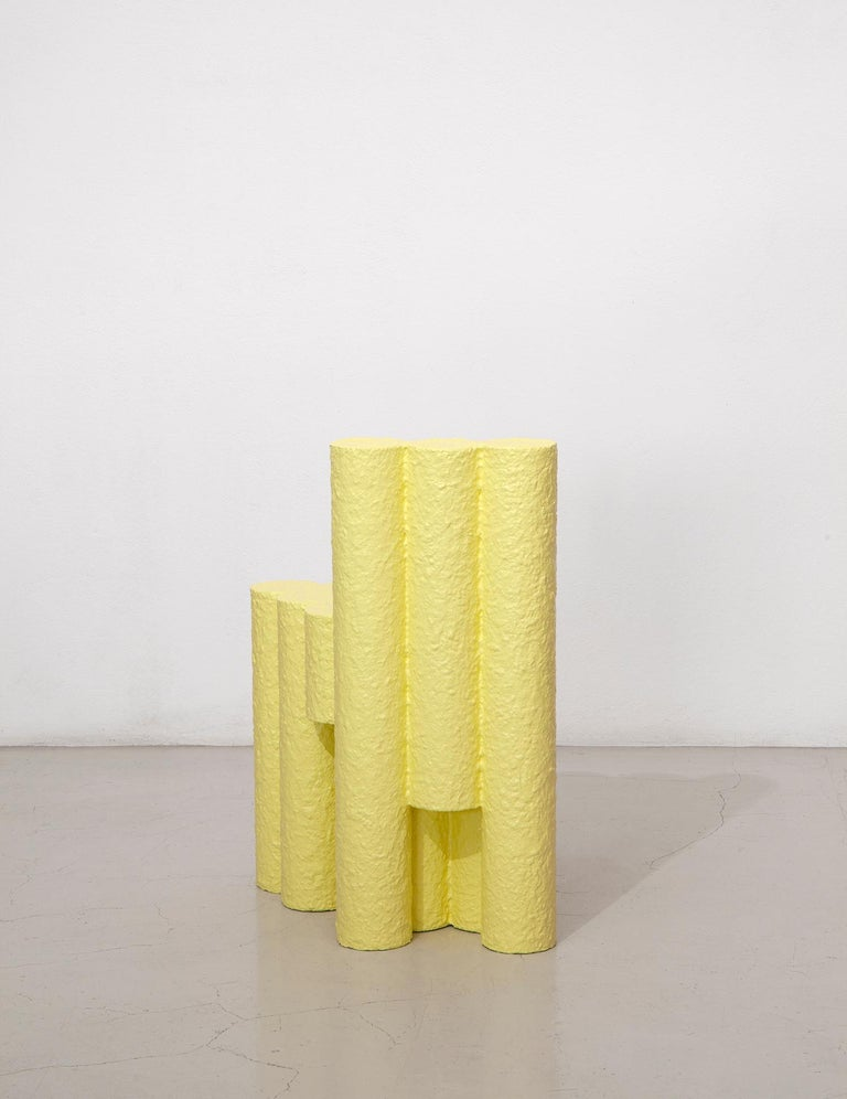 Yellow Paper Pulp Sculptural #21.1c Tubes Chair by Zaven In Distressed Condition For Sale In Brooklyn, NY