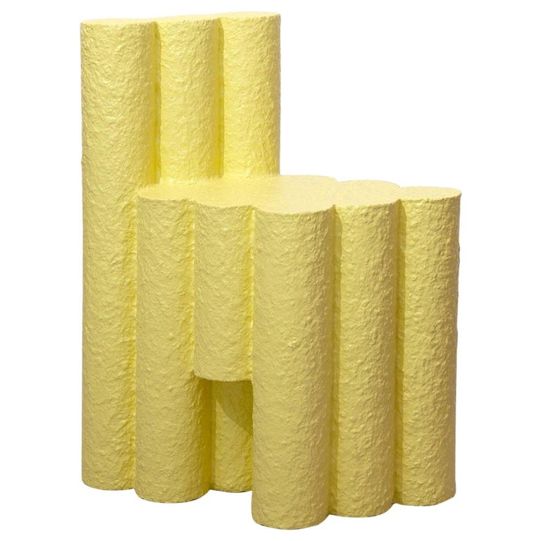 Yellow Paper Pulp Sculptural #21.1c Tubes Chair by Zaven For Sale