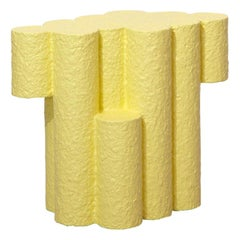Yellow Paper Pulp Sculptural #21.1d Tubes Side Table by Zaven