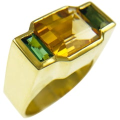 Yellow Passion Topaz Green Tourmaline Ring