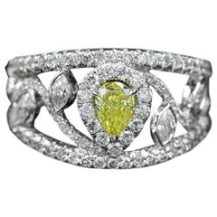 Yellow Pear Diamond Ring Mix Shape Diamonds 18 Karat Gold GIA Yellow Diamond