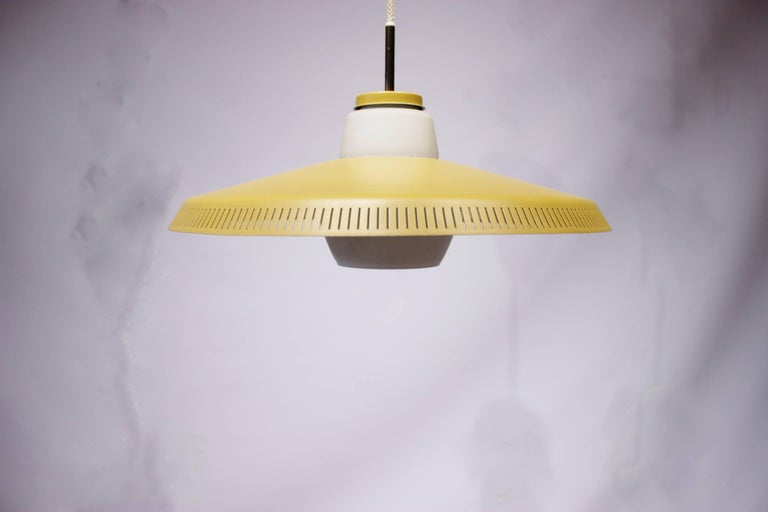 Scandinavian Modern Yellow Pendant, P415 by Bent Karlby and Lyfa, 1960s For Sale