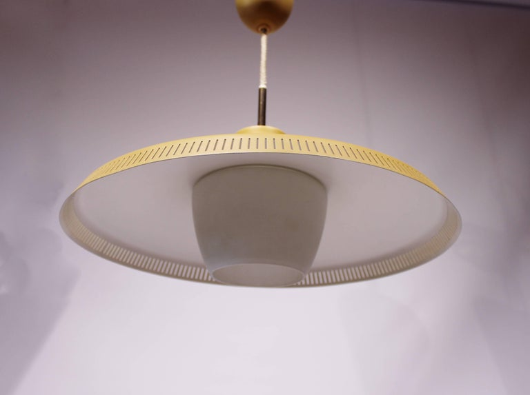 Yellow Pendant, P415 by Bent Karlby and Lyfa, 1960s In Good Condition For Sale In Lejre, DK