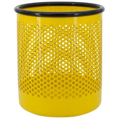 Yellow Perforated Metal Office Wastebasket Trash Can Italy Memphis Sottsass