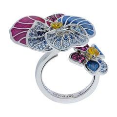 Yellow Pink Blue Sapphires Ruby 18 Karat White Gold Violet Ring