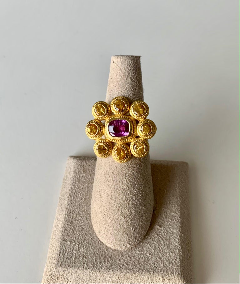 Artist Yellow and Pink Sapphire Cocktail Ring 4 Carat in 22 Karat Gold For Sale