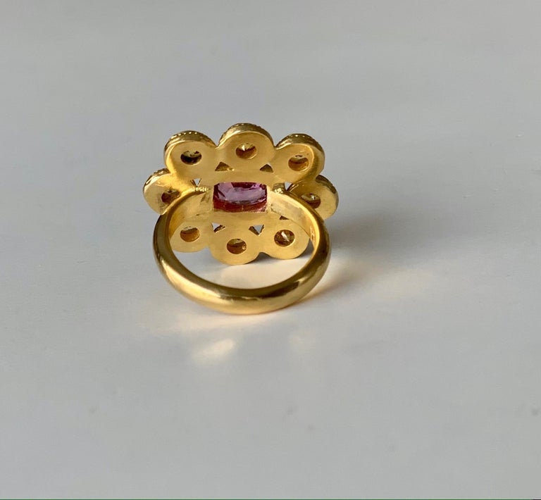 Women's Yellow and Pink Sapphire Cocktail Ring 4 Carat in 22 Karat Gold For Sale