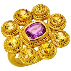 Yellow and Pink Sapphire Cocktail Ring 4 Carat in 22 Karat Gold