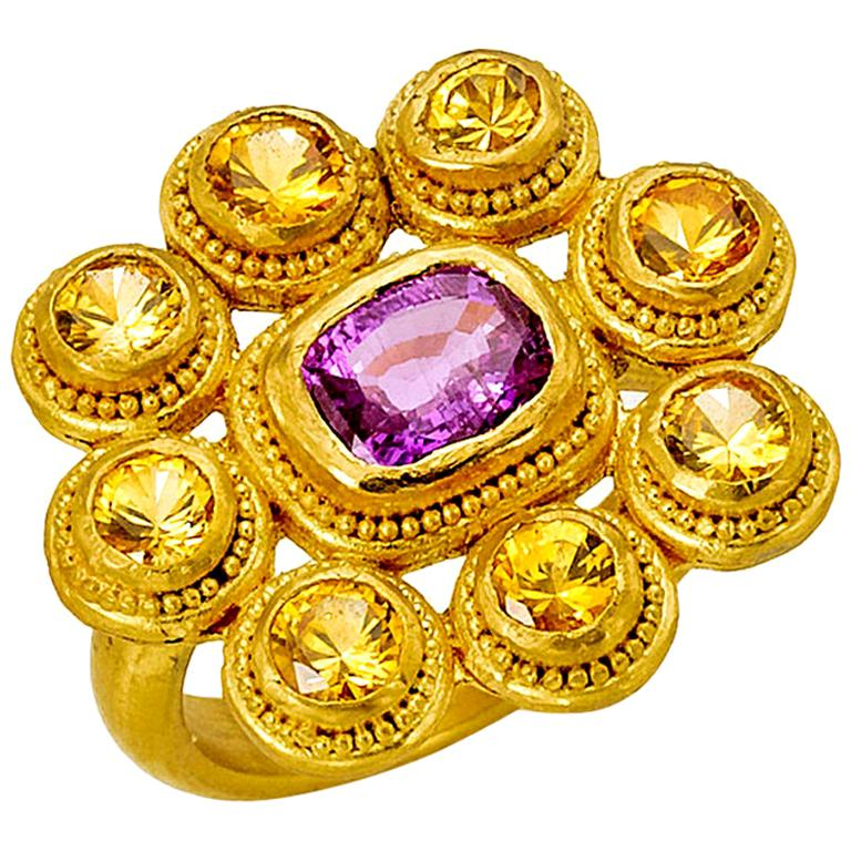 Yellow and Pink Sapphire Cocktail Ring 4 Carat in 22 Karat Gold For Sale
