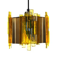 Yellow Plexiglas Pendant by Claus Bolby for Cebo Industri in the 1970s