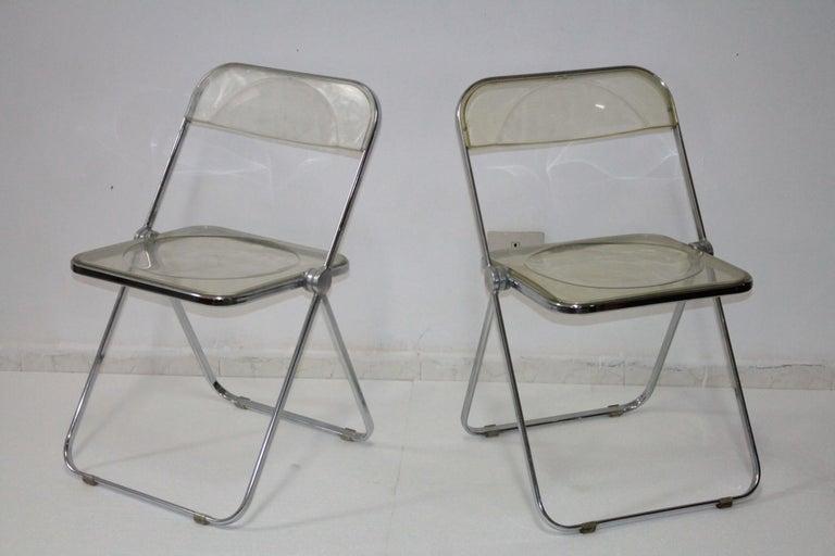 Yellow Plia Folding Chairs by Giancarlo Piretti for Castelli, 1967 For Sale 3