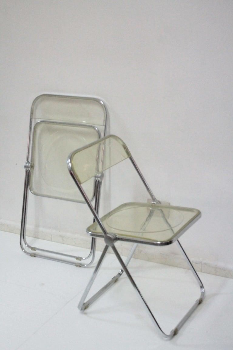 Yellow Plia Folding Chairs by Giancarlo Piretti for Castelli, 1967 For Sale 7