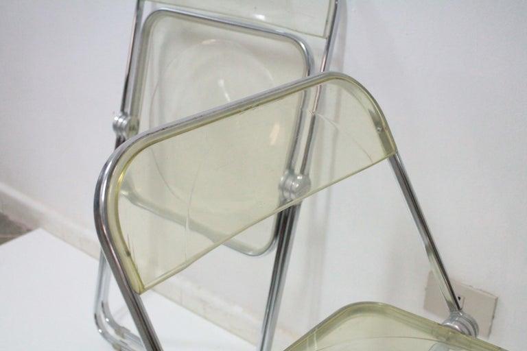 Yellow Plia Folding Chairs by Giancarlo Piretti for Castelli, 1967 For Sale 9