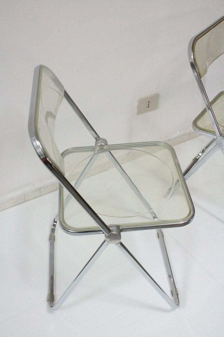 Yellow Plia Folding Chairs by Giancarlo Piretti for Castelli, 1967 In Good Condition For Sale In Palermo, Palermo